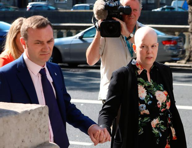Ruth Morrissey outside court with her husband Paul. Both gave evidence in support of their claim against the HSE and the labs. Picture: Collins