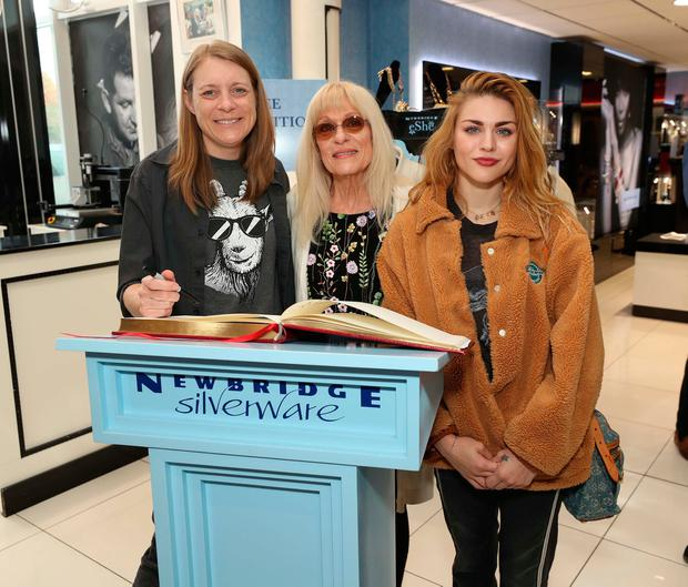 Kurt's sister Kim and mother Wendy with Frances at the exhibition Growing Up Kurt Cobain at the Museum of Style Icons at Newbridge Silverware. Photo. Robbie Reynolds