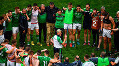 29 July 2018; Limerick manager John Kiely speaks to his players following the GAA Hurling All-Ireland Senior Championship semi-final match between Cork and Limerick at Croke Park in Dublin. Photo by Brendan Moran/Sportsfile