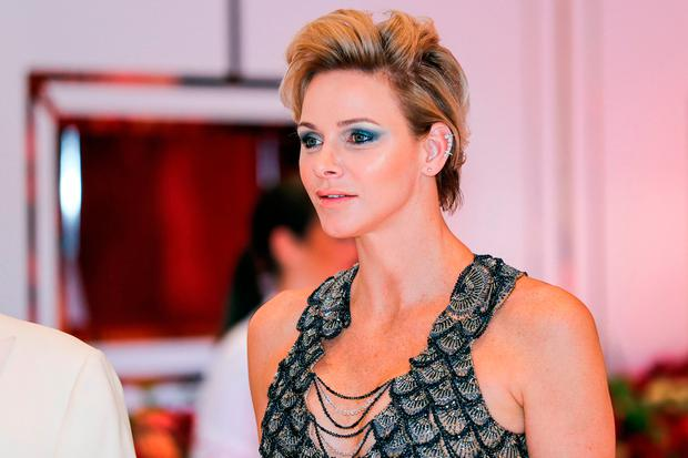 Princess Charlene of Monaco arrives to attend the 70th annual Red Cross Gala at the Monte-Carlo Sporting Club on July 27, 2018 in Monaco