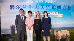 Conor O'Sullivan (Trade Marketing Specialist, Bord Bia), Celina Yang (VP, Win-Chain), Marie di Bartolo (International Sales Manager, Foyle Food Group), Therese Healy (Consul General of Ireland, Shanghai) at the launch of Irish beef on Chinese ecommerce giants Alibaba's Tmall Supermarket and Yiguo Fresh.
