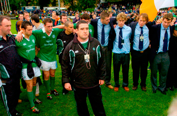 Irish coach Mark McDermott has a few words with his players after they were defeated by New Zealand in U21 World Championship Final. Photo: Brendan Moran/Sportsfile