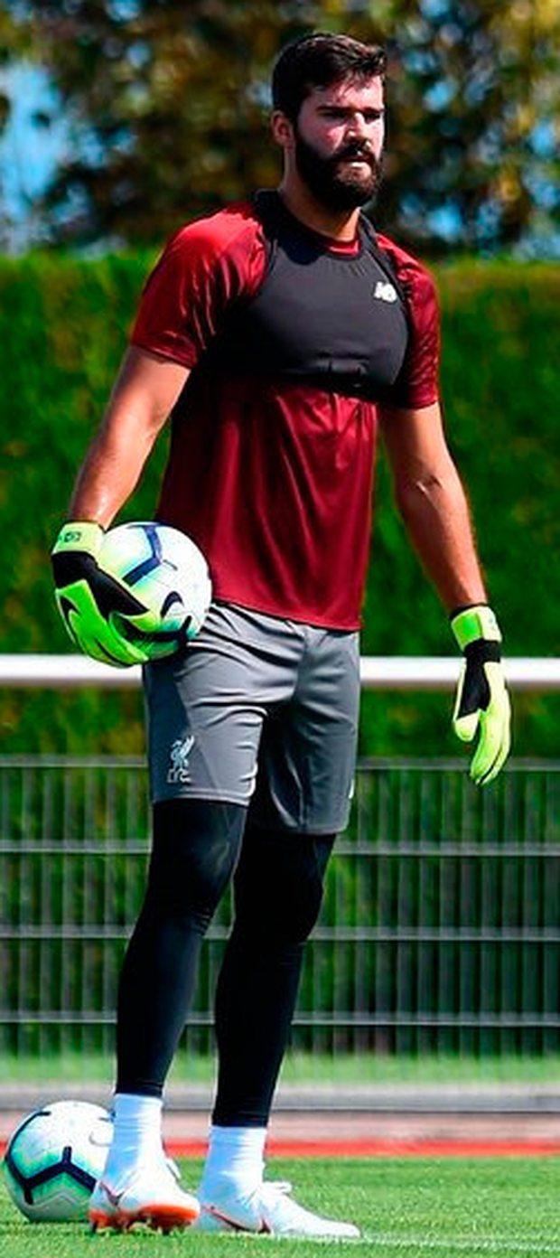 NEW BOY: Goalkeeper Alisson at Liverpool squad training in France