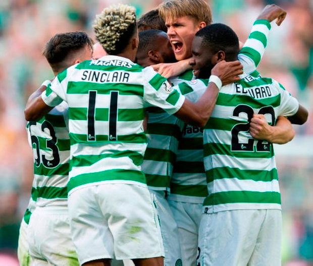 BHOYS JOY: Celtic celebrate after Olivier Ntcham scored his side's second goal in last week's Champions League second qualifying round, first leg match at Celtic Park. Photo: Jeff Holmes/PA