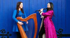 Sisters Michelle and Louise Mucahey mark the launch of Tradfest 2018 in St Patrick's Cathedral in Dublin. Photo: Leon Farrell/Photocall Ireland