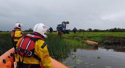 Lough Ree RNLI involved in the dramatic rescue of a cow. Image: RNLI
