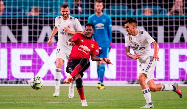 Fred #17 of Manchester United in action during the International Champions Cup match against Real Madrid at Hard Rock Stadium in Miami, Florida. (Photo by Rob Foldy/Getty Images)