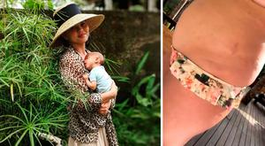 Chrissy Teigen with her baby son Miles, left, and showing off her stretch marks, left