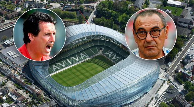 Unai Emery (left) and Maurizio Sarri (right) continue their rebuilding plans at the Aviva this evening