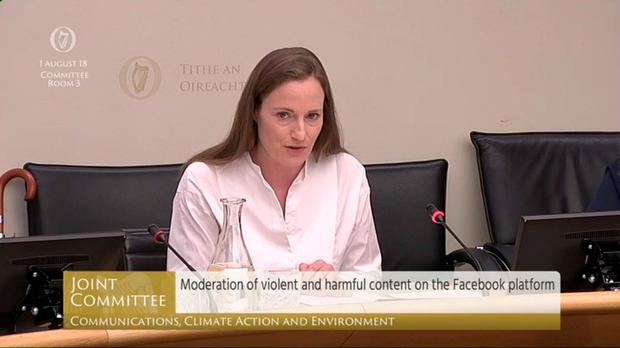 Screengrab taken from Oireachtas TV of Facebook executives Niamh Sweeney, Head of Public Policy, Facebook Ireland, appearing before the Oireachtas Joint Committee on Communications, Climate Action and Environment in Dublin. Oireachtas TV /PA Wire