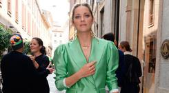 Pastel trouser suits are ideal for summer weddings or race meetings, where you could go all out with a contrasting colour pop in your accessories, or pare it back with a low ponytail, minimal make-up and a muted cami top… or nothing at all, as French actress Marion Cotillard demonstrates.