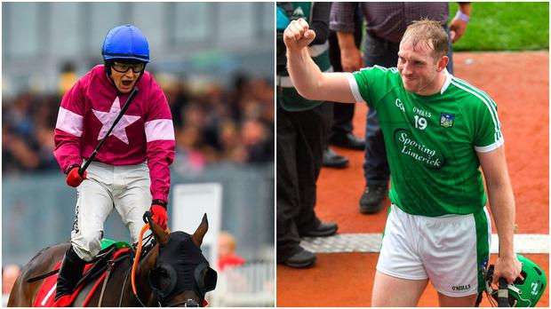 Jockey Mark Enright (left) and Limerick hurler Shane Dowling (right).