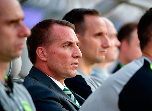 Celtic's manager Brendan Rodgers watches the UEFA Champions League second round, second leg qualifying football match between Rosenborg and Celtic at the Lerkendal Stadium in Trondheim, Norway, on August 1, 2018. / AFP PHOTO / NTB SCANPIX / Ole Martin Wold / Norway OUTOLE MARTIN WOLD/AFP/Getty Images