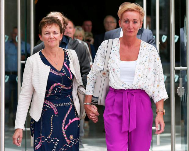 Sisters Deirdre Fahy and Stephanie Hickey leave the Central Criminal Court after Bartholomew Prendergast was sentenced for abusing both women. Photos: Collins Courts