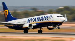 Shares in Ryanair sank 4.2pc to €13.50 as it faces increasing strike action around Europe. Photo: Reuters