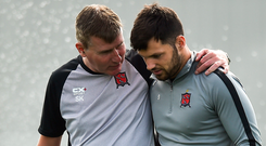 Stephen Kenny has some words of advice for Patrick Hoban during training. Photo: Sportsfile