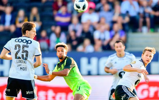 Rosenborg's Marius Lundemo (left) and Vegar Eggen Hedenstad vie for the ball with Celtic's Scott Sinclair. Photo: Getty Images