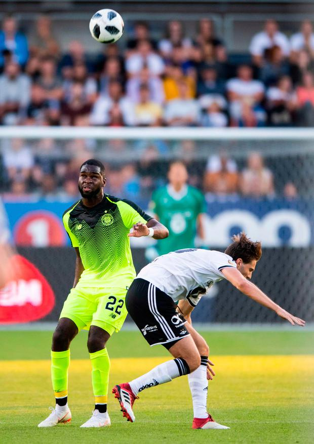 Celtic's Odsonne Edouard and Rosenborg's Marius Lundemo. Photo: Getty Images