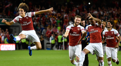 Matteo Guendouzi jumps for joy in celebration after Arsenal won the penalty shoot-out in Dublin last night. Photo: Getty Images