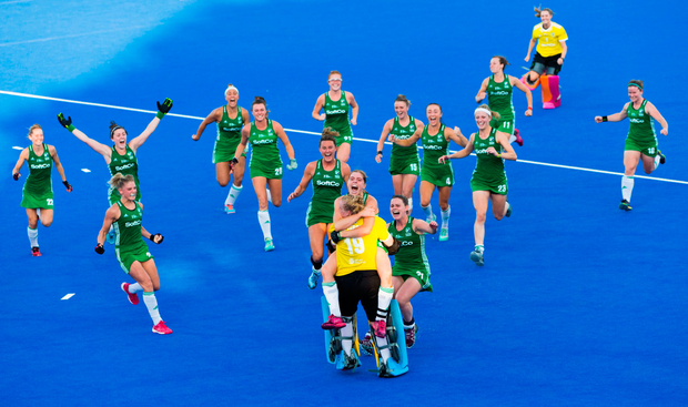 2 August 2018; Ireland players celebrate with goalkeeper Ayeisha McFerran after their victory in a penalty shootout during the Women's Hockey World Cup Finals Quarter-Final match between Ireland and India at the Lee Valley Hockey Centre in QE Olympic Park, London, England. Photo by Craig Mercer/Sportsfile