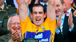 Pat Donnellan lifting the Liam MacCarthy cup for Clare in 2013. Photo: Barry Cregg / Sportsfile
