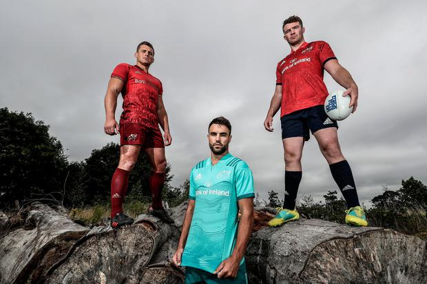 CJ Stander, Conor Murray and Peter O'Mahony at the launch of the new Munster alternative and European jerseys, which are available exclusively at Life Style Sports. Photo: INPHO/Dan Sheridan