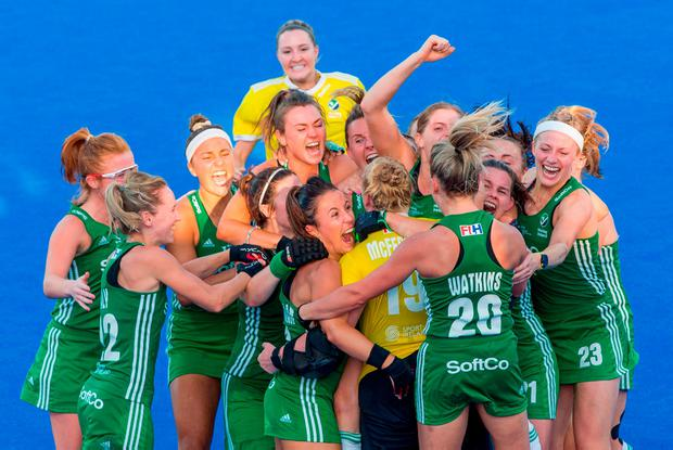 DELIGHT: Ireland players celebrate with goalkeeper Ayeisha McFerran after their victory over India in a penalty shootout during the Women's Hockey World Cup quarter-final in the Olympic Park, London. Photo: Craig Mercer/Sportsfile