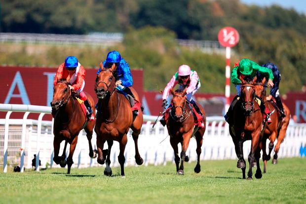 Wild Illusion ridden by jockey William Buick (2nd left) comes home to win the Qatar Nassau Stakes during day three of the Qatar Goodwood Festival at Goodwood Racecourse, Chichester. Photo: PA