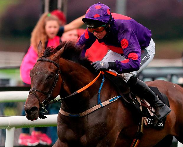 Jamie Codd steers You Raised Me Up to victory in the flat race. Photo: Brian Lawless/PA Wire