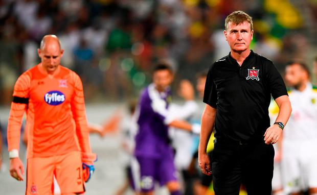 Dundalk manager Stephen Kenny leaves the pitch following their Europa League defeat in Cyprus. Photo: Stephen McCarthy/Sportsfile