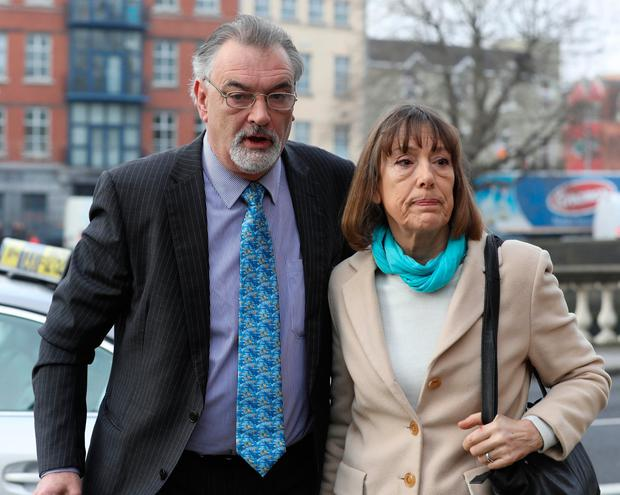 Ian Bailey arriving at the Four Courts with his partner Jules Thomas (Right) for a Court of Appeal hearing last year. Photo: Collins
