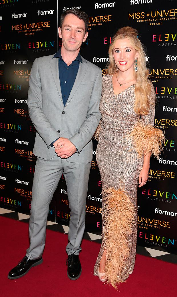 Graham Hastings and Amy Joyce Hastings at the final of Miss Universe Ireland 2018 in association with Eleven Haircare at the Round Room of Dublins Mansion House Picture: Brian McEvoy No Repro fee for one use