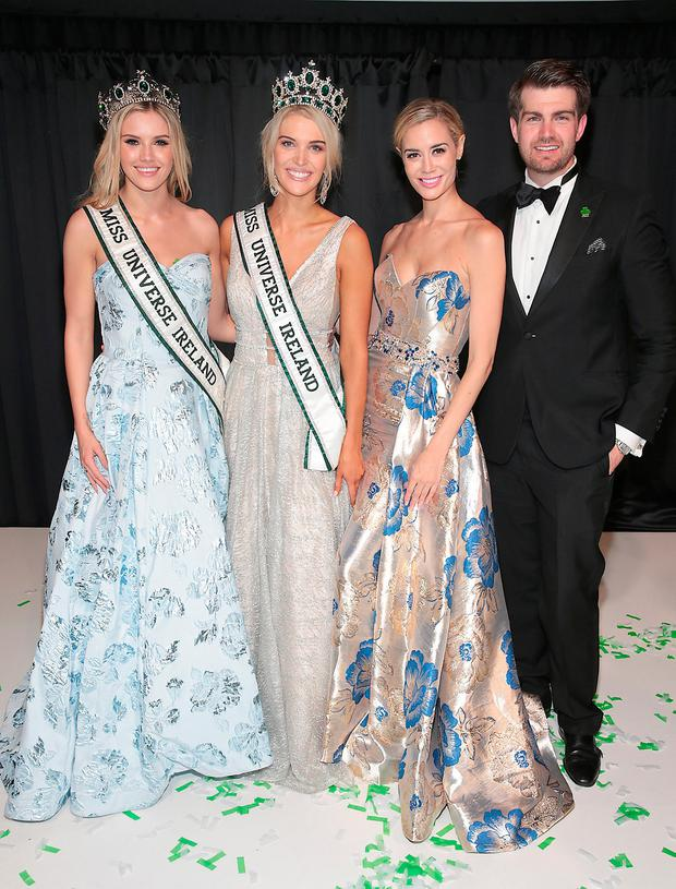 Miss Universe Ireland 2017 Cailin Aine Ni Toibin, MUi Managing Director Brittany Mason and Steven Patch with Miss Universe Donegal Grainne Gallanagh who was crowned winner of Miss Universe Ireland 2018 at the Mansion House, Dublin walking away with over 40k in prizes. She will go on to represent Ireland in Miss Universe 2018 . The Miss Universe Ireland 2018 in association with Eleven Haircare which was held in the Round Room of Dublins Mansion House was hosted by Managing Director, Brittany Mason and MC, James Patrice. A host of well known faces stepped out on the red carpet at the glitzy bash. Picture: Brian McEvoy No Repro fee for one use