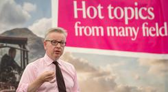 Environment Secretary Michael Gove speaking in the National Trust Theatre on the opening day of BBC Countryfile Live at Blenheim Palace near Woodstock, Oxfordshire. Photo: Steve Parsons/PA Wire