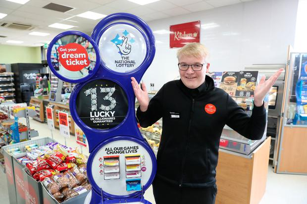 Sean Grant in the shop where he ripped up the winning lottery ticket Photo: Andrew Milligan/PA Wire