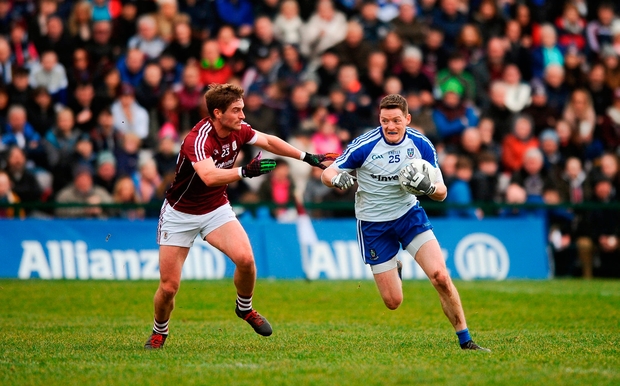 Monaghan's Conor McManus takes on Galway's Gary O'Donnell during their league clash back in March at Pearse Stadium. Photo by Aaron Greene/Sportsfile