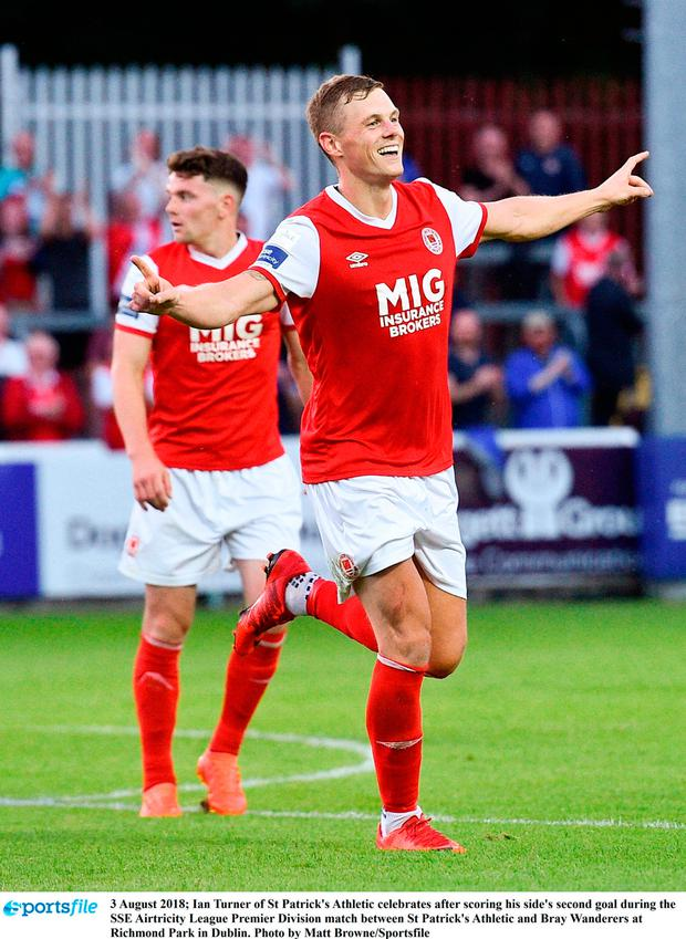 Ian Turner of St Patrick's Athletic celebrates after scoring his side's second goal