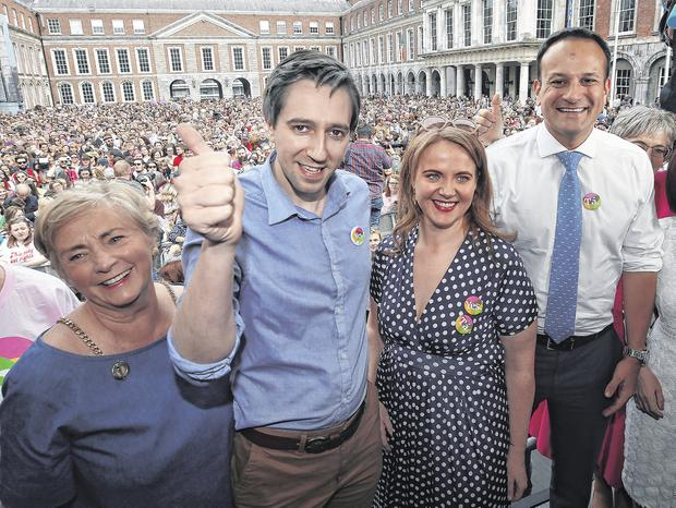 Celebrating repeal of the Eighth Amendment at Dublin Castle in May were TD Francis Fitzgerald, Health Minister Simon Harris, Senator Catherine Noone and Taoiseach Leo Varadkar Photo: Damien Eagers