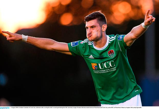 Graham Cummins of Cork City celebrates after scoring his side's second goal