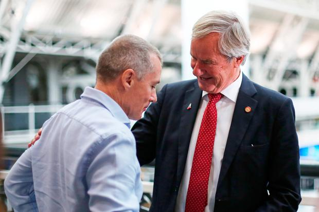 IAG boss Willie Walsh, pictured with Norwegian CEO Bjorn Kjos, said it would be 'foolish' not to exploit Aer Lingus' growth opportunities. Photo: Chris Ratcliffe/Bloomberg