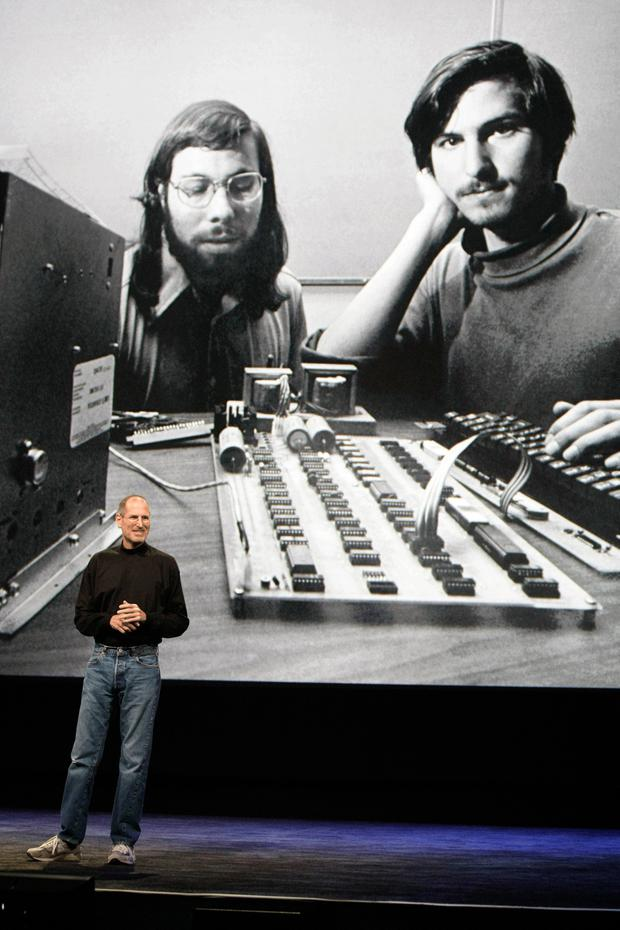 Jobs, on right, in the company's early days in California with co-founder Steve Wozniak.