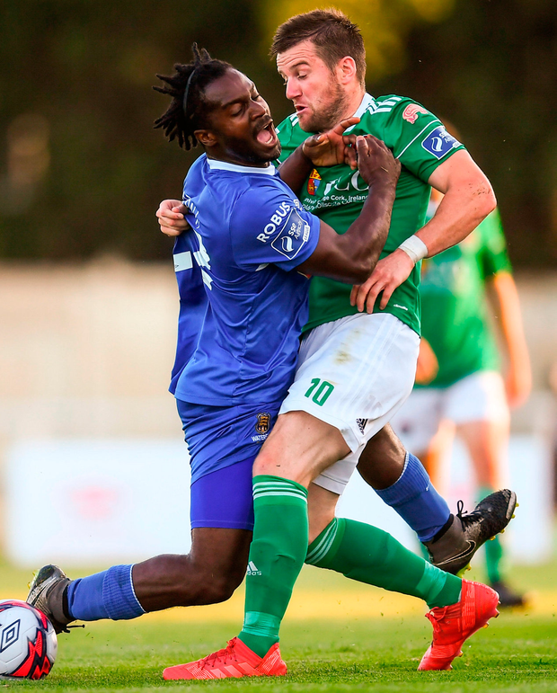 Cork City's Steven Beattie in action against Stanley Aborah of Waterford. Photo: Stephen McCarthy/Sportsfile