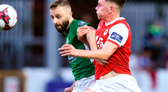 Dean Clarke of St Patrick's Athletic in action against Dylan Hayes of Bray Wanderers. Photo: Matt Browne/Sportsfile
