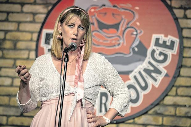 Emma Mhic Mhathúna on stage in the Laughter Lounge in Dublin last night. Photo: Kyran O'Brien