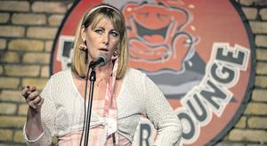 Emma Mhic Mhathúna on stage in the Laughter Lounge in Dublin. Photo: Kyran O'Brien