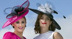 Jelena Jobb and Vanessa Jobb from Omagh who took part in the Most Stylish competition at the Galway Races. Photo: Tony Gavin 3/8/2018