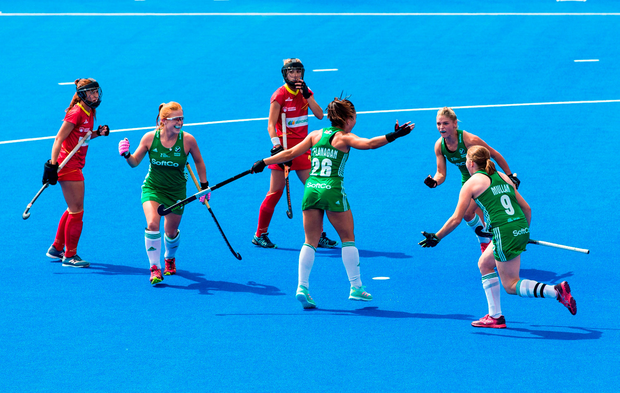 Anna OFlanagan of Ireland celebrates with team mates after scoring the opening goal from a penalty corner during the Women's Hockey World Cup Finals semi-final match between Ireland and Spain at the Lee Valley Hockey Centre in QE Olympic Park, London, England.