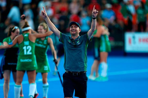 Ireland's Graham Shaw celebrates after winning the shoot out Quarter Final at The Lee Valley Hockey and Tennis Centre, London.