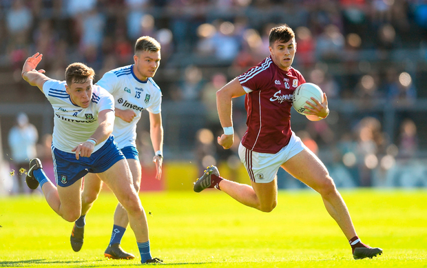 Shane Walsh of Galway in action against Niall Kearns of Monaghan during the GAA Football All-Ireland Senior Championship Quarter-Final Group 1 Phase 3 match between Galway and Monaghan at Pearse Stadium in Galway.