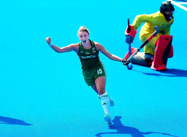 Ireland's Gillian Pinder celebrates scoring the winning goal in sudden death of the shootout